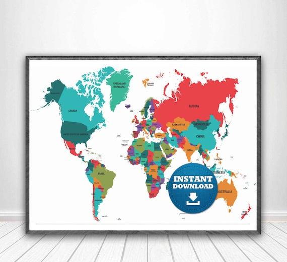 Digital modern political world map printable download large etsy gumiabroncs Choice Image