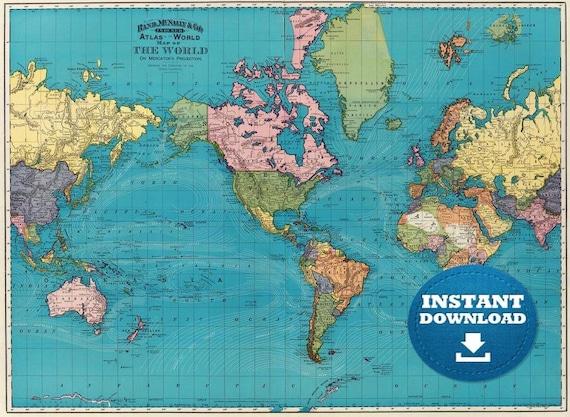 Digital Blue Oceans Vintage Colorful World Map Printable Download, Poster Map, Antique World Map, Atlas World Map, Historical World Map