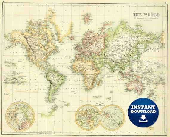 Digital Golden-Light Vintage World Map File, Printable Download, The World, Bright World Map, Yellow and Green Boho Map of the World Poster