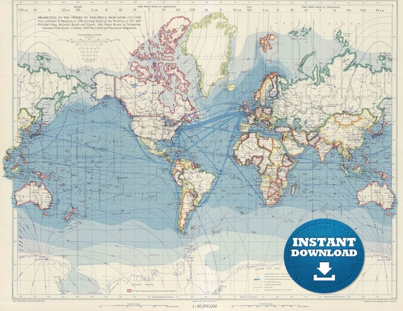 Digital America Centric World Map Printable Download. Vintage World Map Image. Antique World Map. High Dimension World Map. Poster