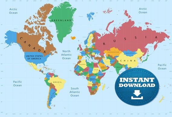 Printable Map Of Australia.Digital Modern World Map Printable Download Weltkarte Printable Map Large World Map High Resolution World Map Poster Usa Australia