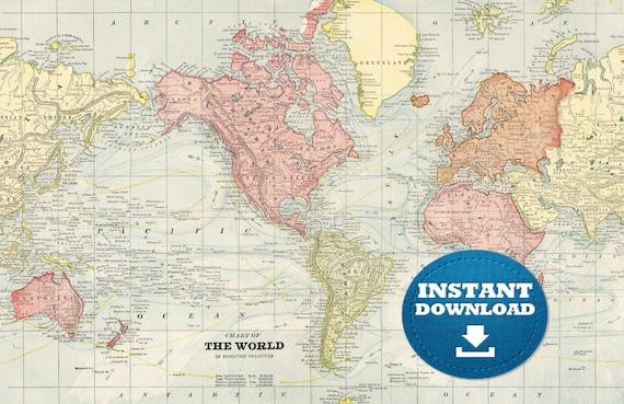 Digital Vintage World Map Printable Download. Antique World Map. Red Colors World Map Poster. Pastel World Map