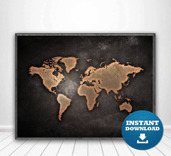 World Map Print World Map Poster Black and White Map Black | Etsy