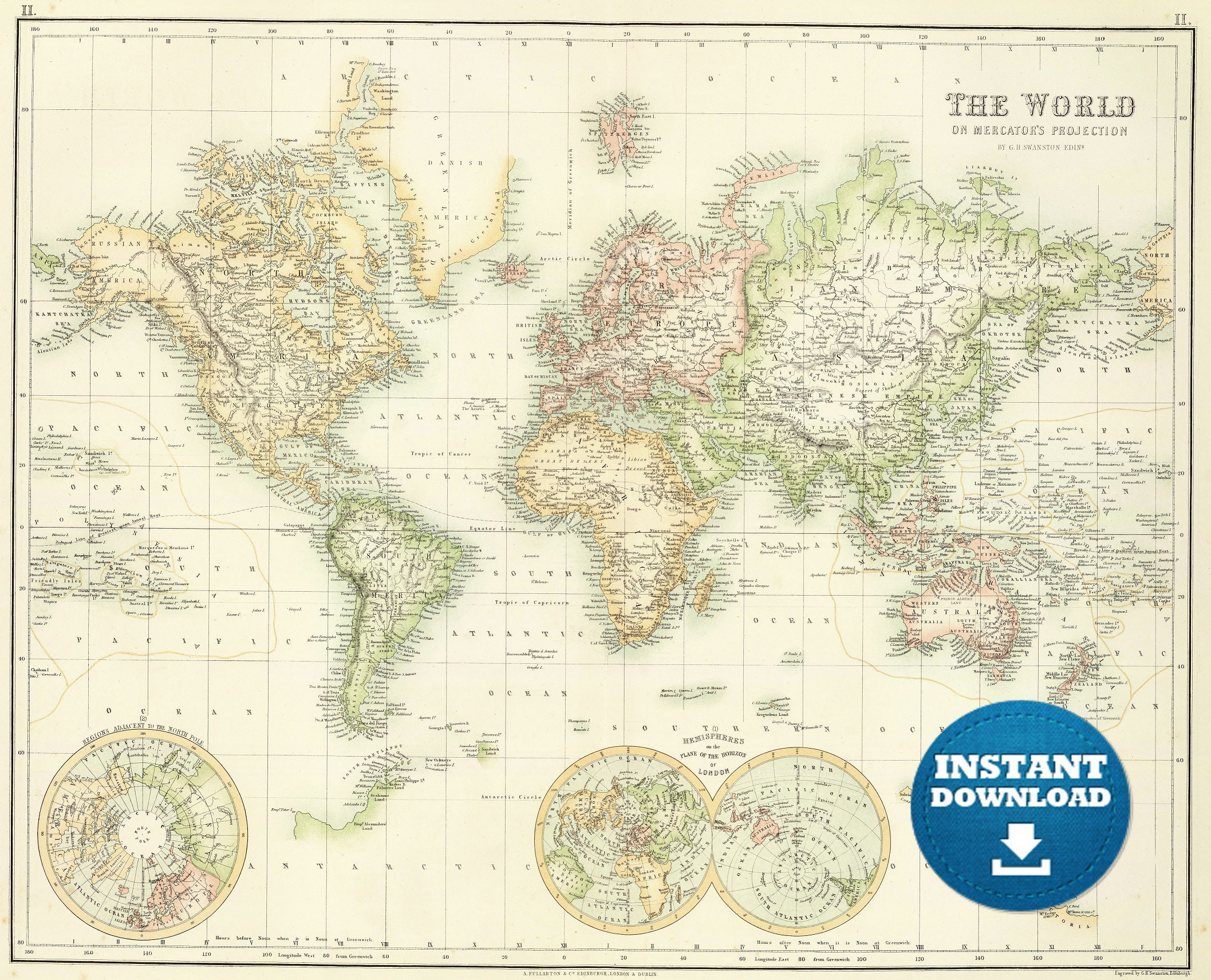Full Map Of Australia.Digital Old World Map Printable Download Vintage World Map Printable Map Large World Map High Resolution World Map Poster Usa Australia