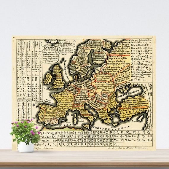 Catholic 1741  Language Map of Europe on Paper, Europa Polyglotta, Multilingual Golden Color Europe Map, Vintage Text Map, Yellow Map Art