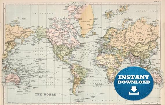 Digital Vintage World Map Printable Download, Antique World Map, Pastel Boho World Map, Soft Colors World Map, Poster World Map, The World.