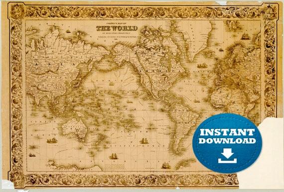 Digital Vintage World Map Printable Download 1864. Vintage World Map. Antique World Map. Poster World Map, Gold World Map, Boho Map.