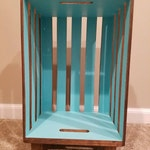 Stained Wood Crate Nightstand with Interior Accent