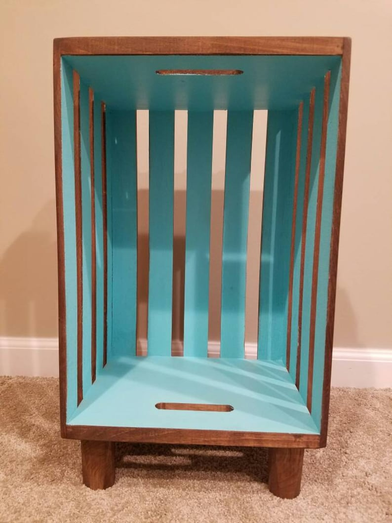 Stained Wood Crate Nightstand with Interior Accent image 0