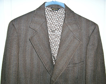 Vintage 70s, brown wool tweed striped jacket blazer, big lapels, three button, double back vent, size 42, by Harridge Row, MINT