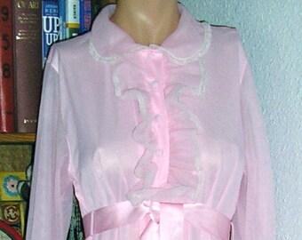 Vintage 60s, Vassarette, pink nightgown, robe, ruffles, lace and ribbon, nylon tricot, size large, MINT