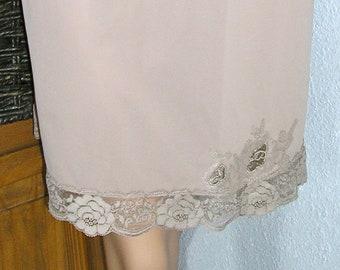 Vintage 60s, Gossard Artemis, mocha half slip, nylon slip, lace trim, appliques, size medium