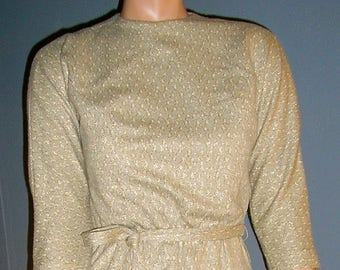 Vintage 60s, Merley, wool, lurex, knit dress, MINT, size small, gold, cream