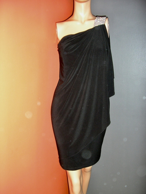 Vintage 80s 90s long black dress gold buttons cream white collar white cuffs long black panel dress