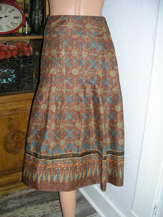Vintage 90s, Peruvian Connection, linen skirt, siz