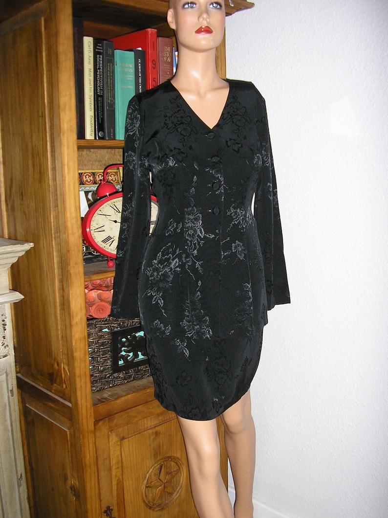 Francine Browner Petites black damask long jacket 4P back tie Vintage 80s formal black suit cocktail suit frock coat suit