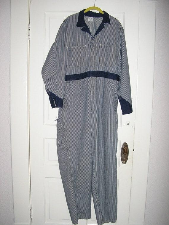 SALE, Vintage  40s, 50s, denim, striped, jumpsuit,