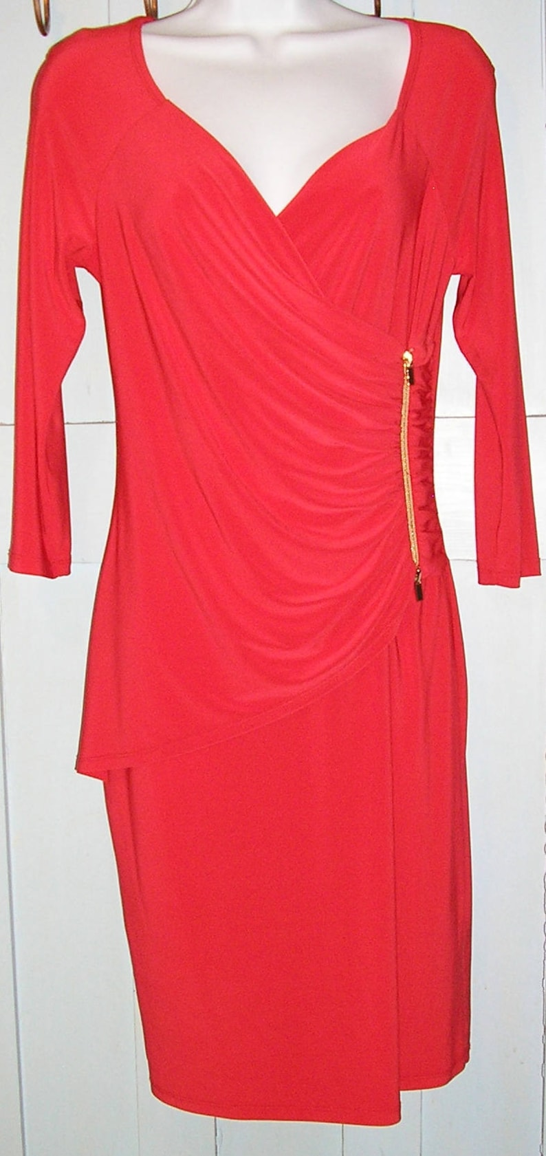 cocktail dress Joseph Ribkoff plunge front red size 8 Vintage 90s draped Made in Canada
