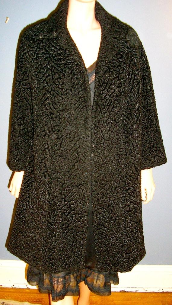 Novelty Print Coat Vintage 1950/'s Swing Coat Vintage 1940/'s Barkcloth Swing Coat