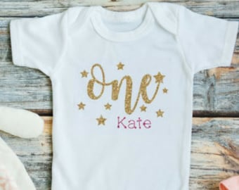 First Birthday Outfit Girl - 1st Birthday Girl Outfit - Pink And Gold First Birthday - Twinkle Twinkle Little Star First Birthday - Birthday