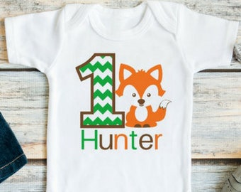f88a497ff Fox first birthday outfit for boys - Baby boy fox birthday outfit - 1st  birthday fox shirt - Woodland birthday shirt - Fox first birthday