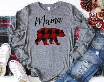 4bdcb62e Mama Bear Shirt Long Sleeve // Plaid Mama Bear Shirt // Buffalo Paid //  Lumber Jack Plaid // Plaid Mama Bear // Mom Shirt
