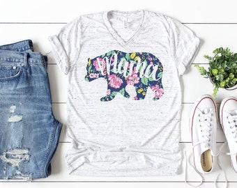 eddfb1936be Floral Mama Bear Shirt    Mama Bear Shirt    Mom Shirt    Mama Bear    Mom  Life Shirt    Gift for Mom    Mom Graphic Tee    V-Neck