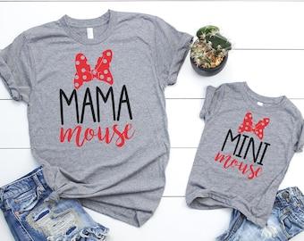 0deda04134 Mama Mouse Mini Mouse Matching Shirt Set    Mommy And Me Shirt Set     Matching Vacation Shirts    Vacation Shirt Set
