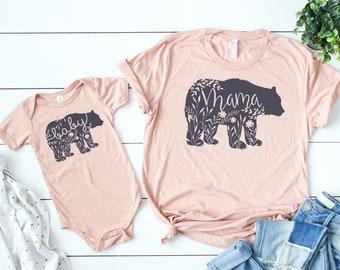 Mama Bear Shirt // Baby Bear Shirt // Mommy And Me Shirts// Mom Life // Mother Daughter Shirts // Mother Son Shirts //  Floral Mama Bear