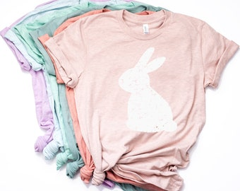 a5096c01 Distressed Bunny Shirt // Women's Easter Shirt // Easter Top // Ladies  Easter Shirt // Easter Graphic Tee