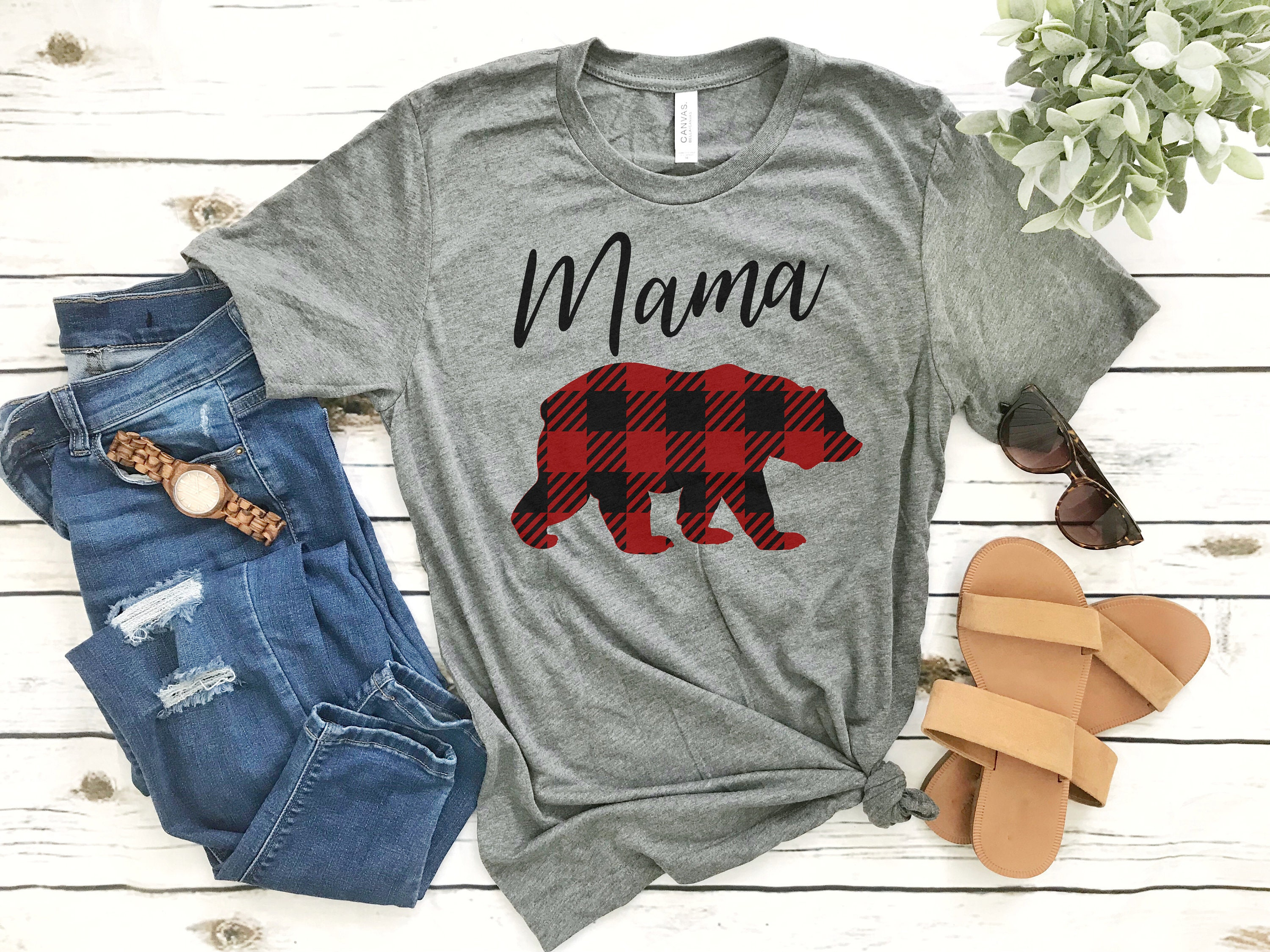 c15f48a3 Mama Bear Shirt // Plaid Mama Bear Shirt // Buffalo Paid // | Etsy