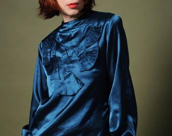 Deep teal satin blouse 70s blouse Applique work blouse Dangle cutout bell-flowers Art Deco blouse Button down back top Boho vintage blouse