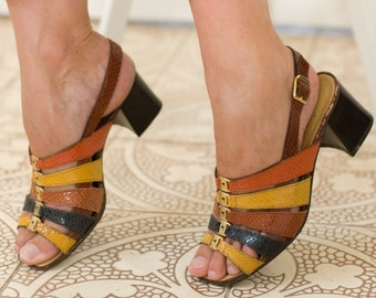 Vintage 70s sandals Sling back Block heel Strappy sandals Embossed Textured leather sandals Genuine leather sandals Colourful italian sandal