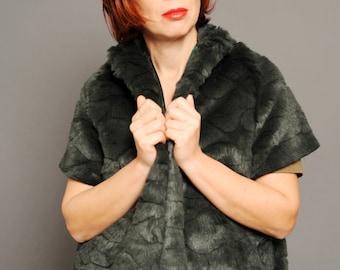 Faux fur coat, vest coat, women coat, forest green coat, short sleeve coat, vtg inspired coat, retro style coat, fashion coat, 60s coat