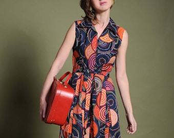 60s women's dress Abstract printed dress Geometric print dress Printed dress Sleeveless dress Cotton dress Pleated dress Sixties Retro dress