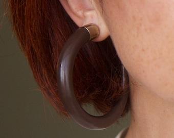 80s Vintage Oversized Plastic Hoop Earrings Brown Large Hoops Horn Brown Plastic Earrings Minimalist  Simple Earrings Statement Earrings