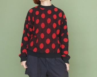Vintage 80s terry polka dot Womens sweater Oversized pullover Red polka dot Black sweater Cotton terry pullover Printed pullover Red circles