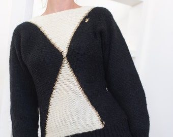 Women jumper, retro sweater, vintage sweater, black and white, vintage pullover