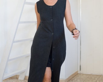 Women's maxi dress, black maxi dress, black linen dress, vintage maxi dress, summer dress, party dress, fitted dress, sleeveless dress