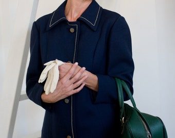 Women retro coat, navy blue coat, coat with lining, vintage coat, 60s coat, lined coat, space-age