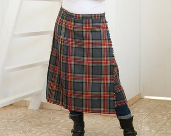 1960s kilt, tartan, english tartan, kilt skirt, 60s tartan, vintage kilt