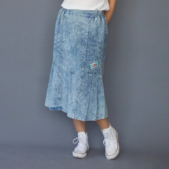 80s fishtail acid wash denim skirt Godet denim ski