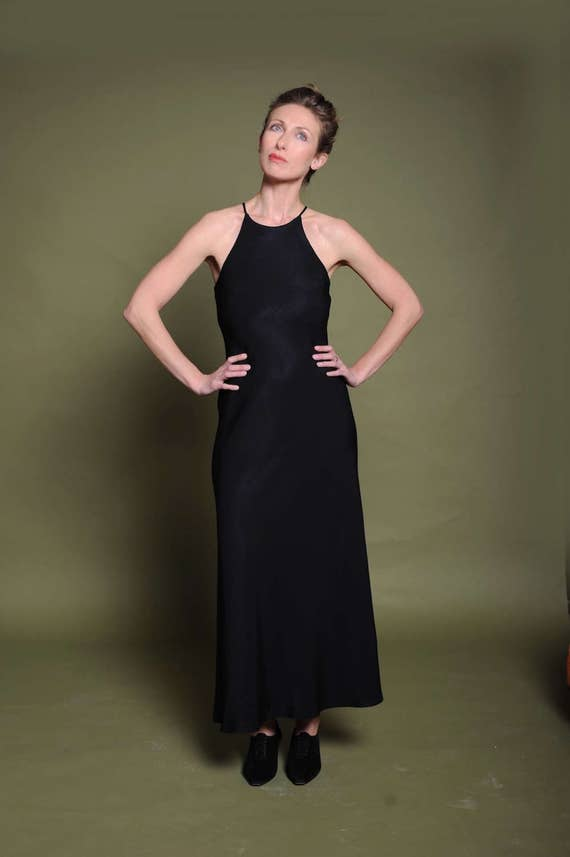 80s black halter dress Maxi dress Open shoulders g