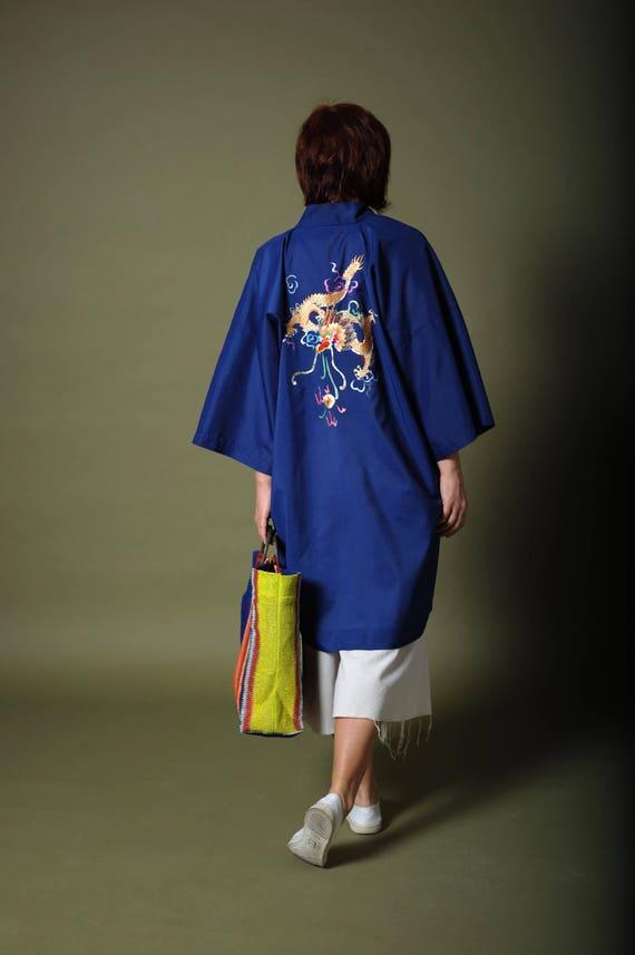Vintage cotton kimono Royal blue Chinese kimono Em