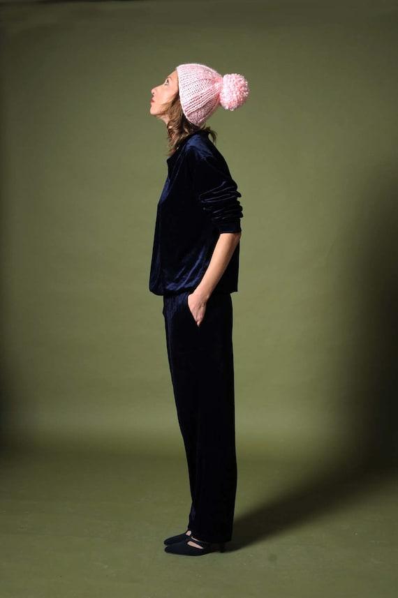Velvet suit Women's 80s pant set Velour blue cotto