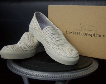 The Last Conspiracy shoes 37 size Off white women's slip on trainers Handmade shoes Ivory genuine leather sneakers Designers shoes