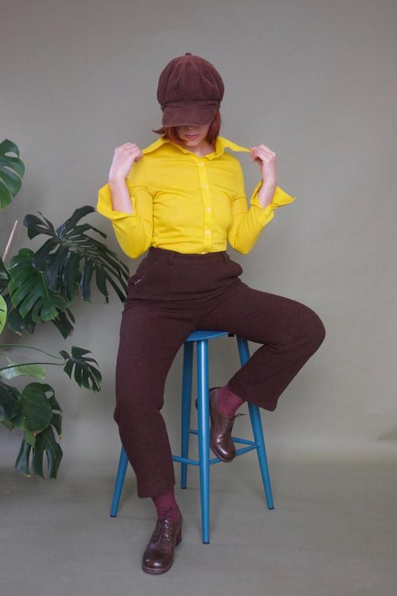 Pineapple yellow shirt 70s button up shirt Women's