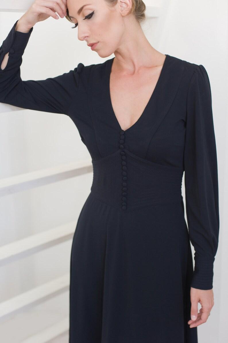 596b44d7a1d Women navy blue dress deep v dress midi navy dress vintage