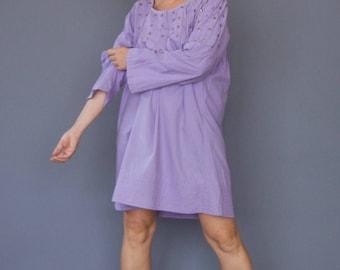 Vintage 70s boho kaftan Lavender cotton caftan Lilac hippie dress Pintucked Embellished dress Boho Hippie Hippy mini dress Tent dress Summer
