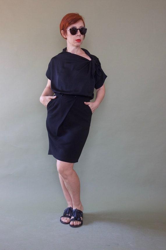 Benetton high waist black pencil skirt Tulip wrap